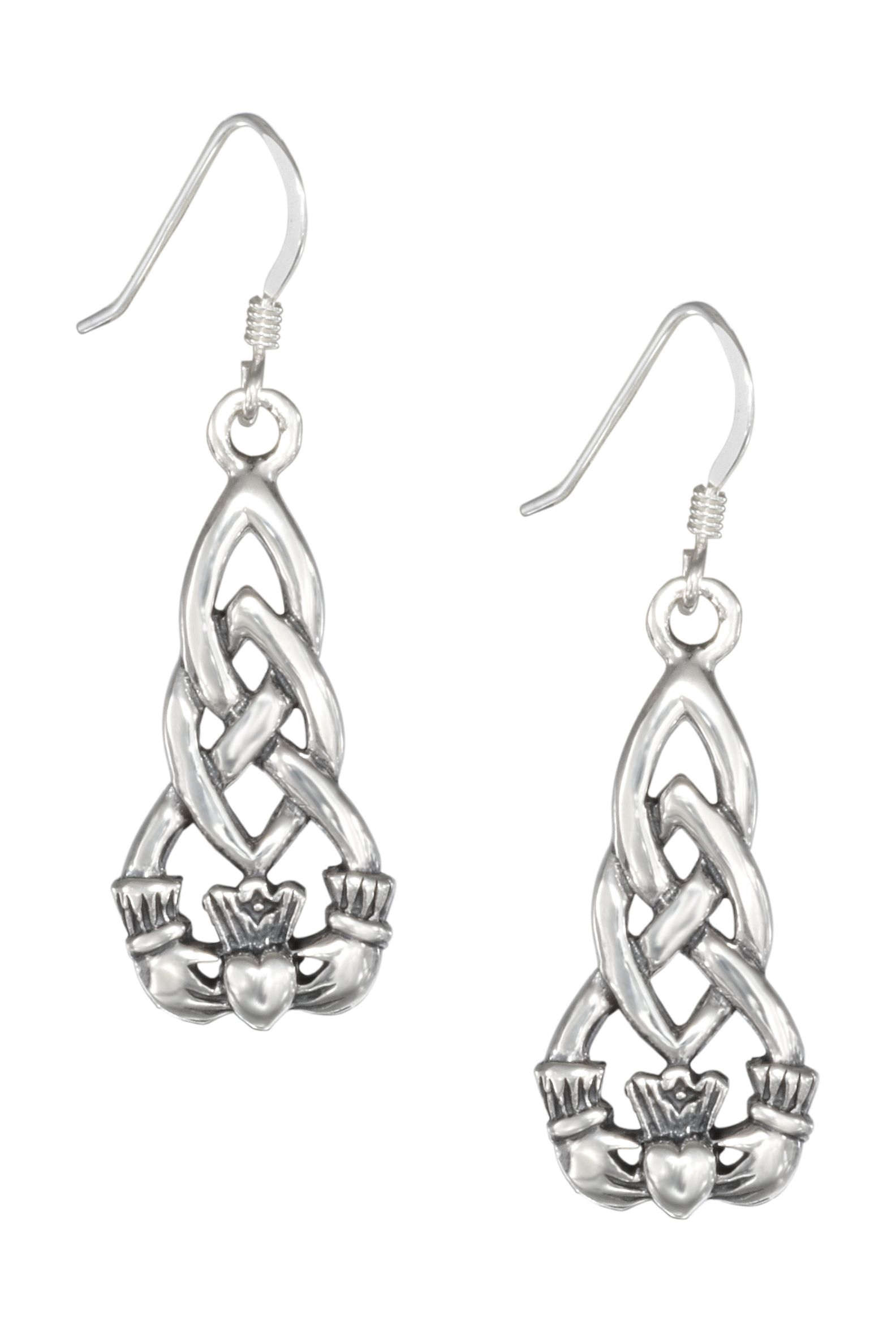 Earrings of Sterling Silver with Celtic knots and Irish Claddagh ...