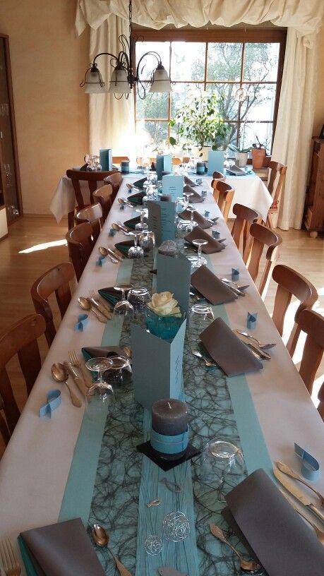 Meine Tischdeko Zur Konfirmation Turkis Grau Silberhochzeit