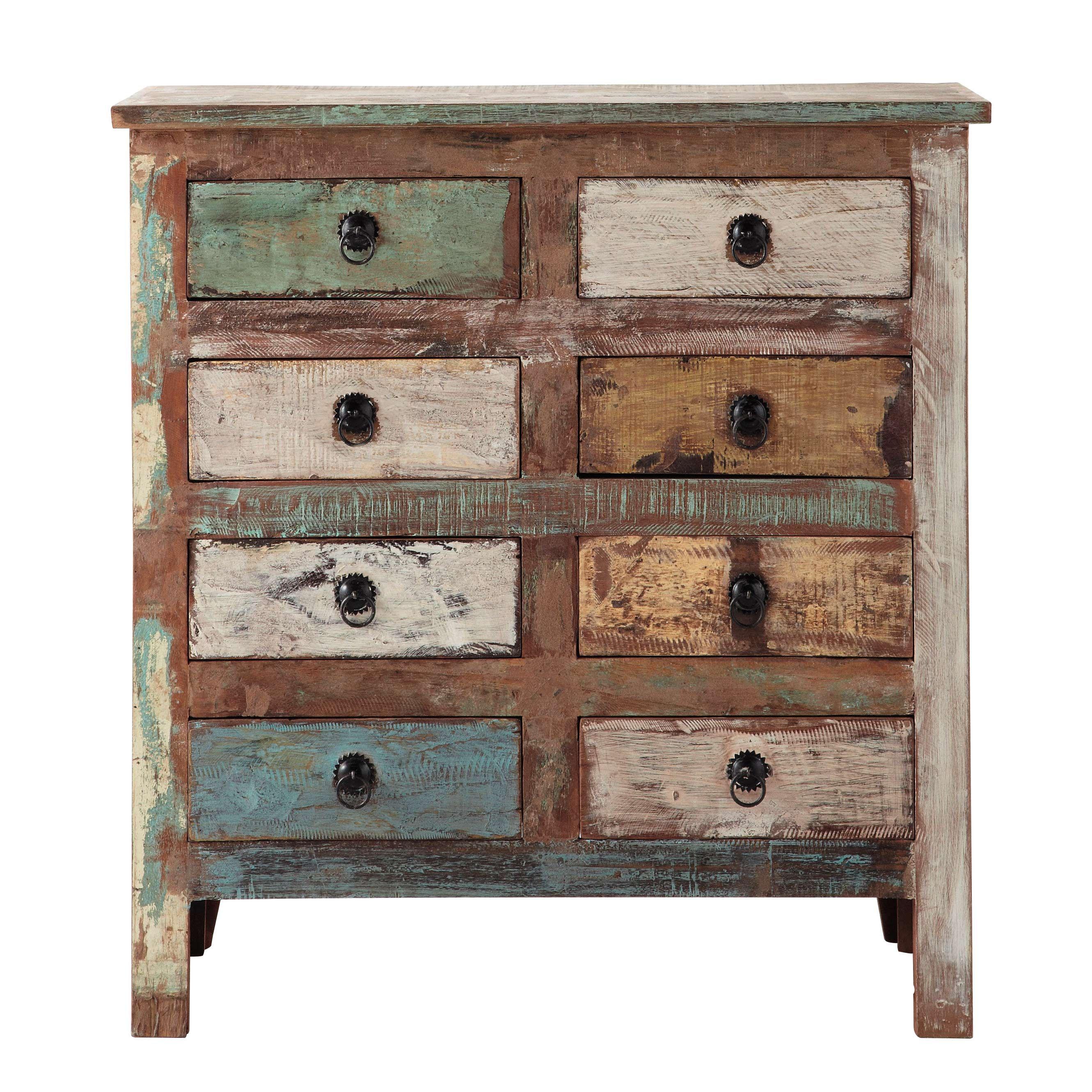 cabinet de rangement en bois recycl l 80 cm calanque maisons du monde