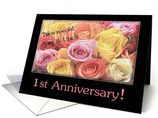 St anniversary mixed rose bouquet aunt uncle card rose