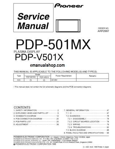 pioneer plasma display pdp501mx service manual download service rh pinterest co uk Pioneer Elite Turntable pioneer plasma tv service manual