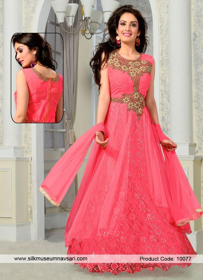 Beautiful Net Hot Pink Kasab Designer Gowns. Beautiful Net Hot Pink Kasab Designer  Gowns Party Wear Long ... c7ee44762