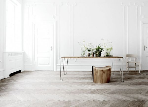 Bleached Herringbone Floors Table White Walls And That