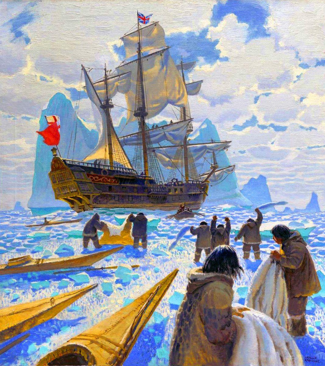 British Hudson Bay Company warship trading with the Canadian Eskimos
