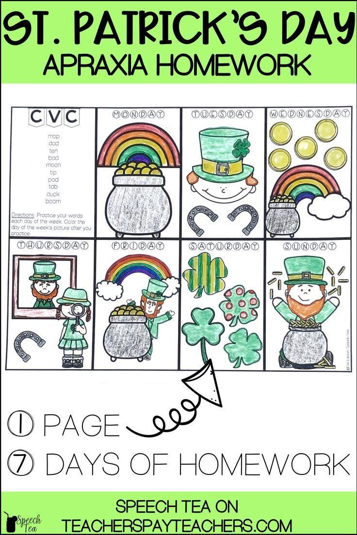 St. Patrick's Day Apraxia Homework in 2020 Spring speech