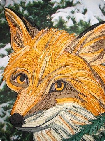Картина панно рисунок Квиллинг Лиса Бумажные полосы фото 2