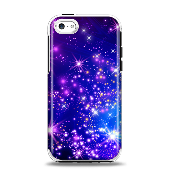 The Glowing Pink & Blue Starry Orbit Apple iPhone 5c Otterbox Symmetry Case Skin Set