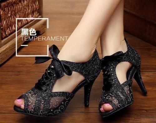 Women Suede Latin Salsa Ballroom Dance Shoes 7CM High Heels All Size