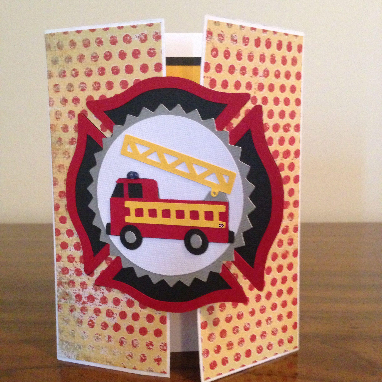 Gatefold Fireman Birthday Card For My Little Fireman Using My Silhouette Cards Handmade Greeting Cards Diy Handmade Birthday Cards