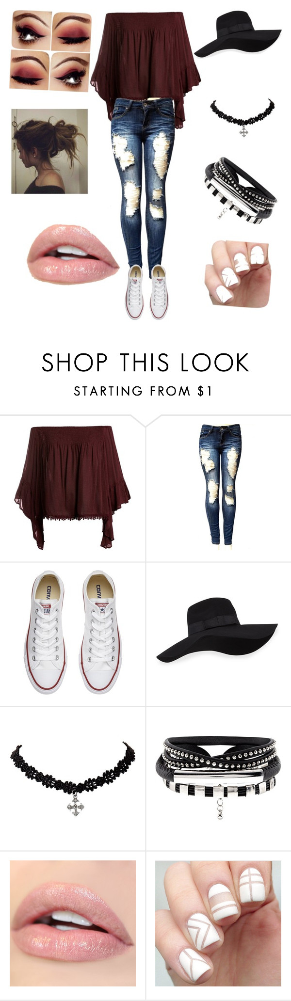 """""""Denim"""" by e-meyers ❤ liked on Polyvore featuring Sans Souci, Converse and San Diego Hat Co."""