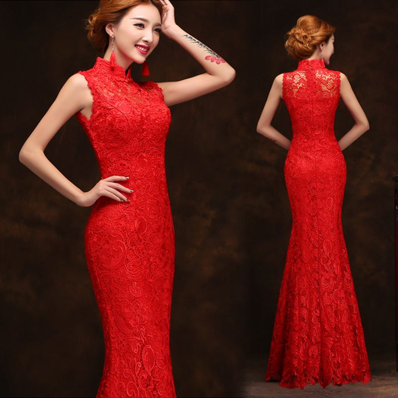 Sleeveless Mandarin Collar Red Lace Chinese Wedding Mermaid Qipao