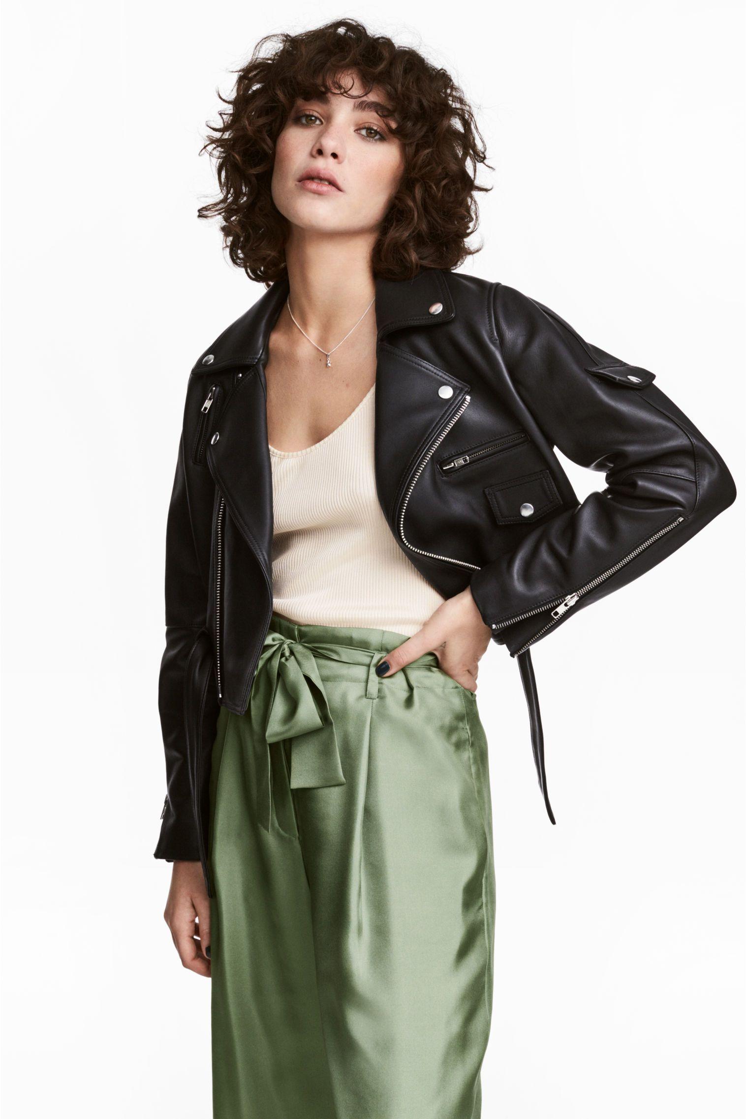 Leather biker jacket Outerwear women, Jackets, Jackets