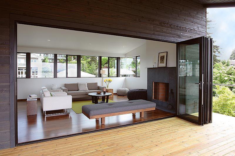 Buena idea para tener contacto abierto con la terraza - Puertas para terrazas ...