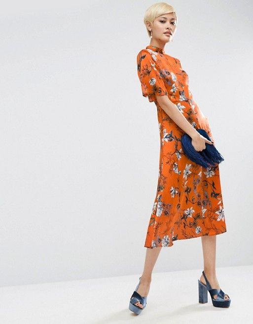 ASOS | ASOS Kimono Sleeve Midi Dress in Painted Floral | Wedding ...