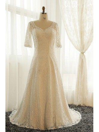 Modest Plus Size Ivory Lace Mature Women Wedding Dress With Short ...