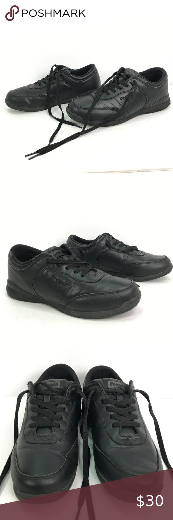 Propet 9 5 W Life Walker Black Leather Propet 9 5 W Life Walker Black Leather There Is Wear Of The Tread O Black Leather Dress Shoes Men Womens Shoes Sneakers [ 1740 x 580 Pixel ]