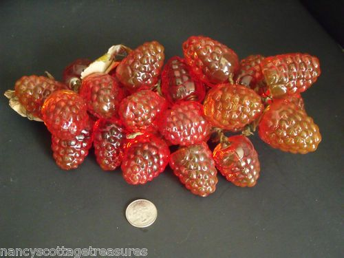 Vintage Eames Era Lucite Reddish Orange Strawberries Raspberries Driftwood 11""