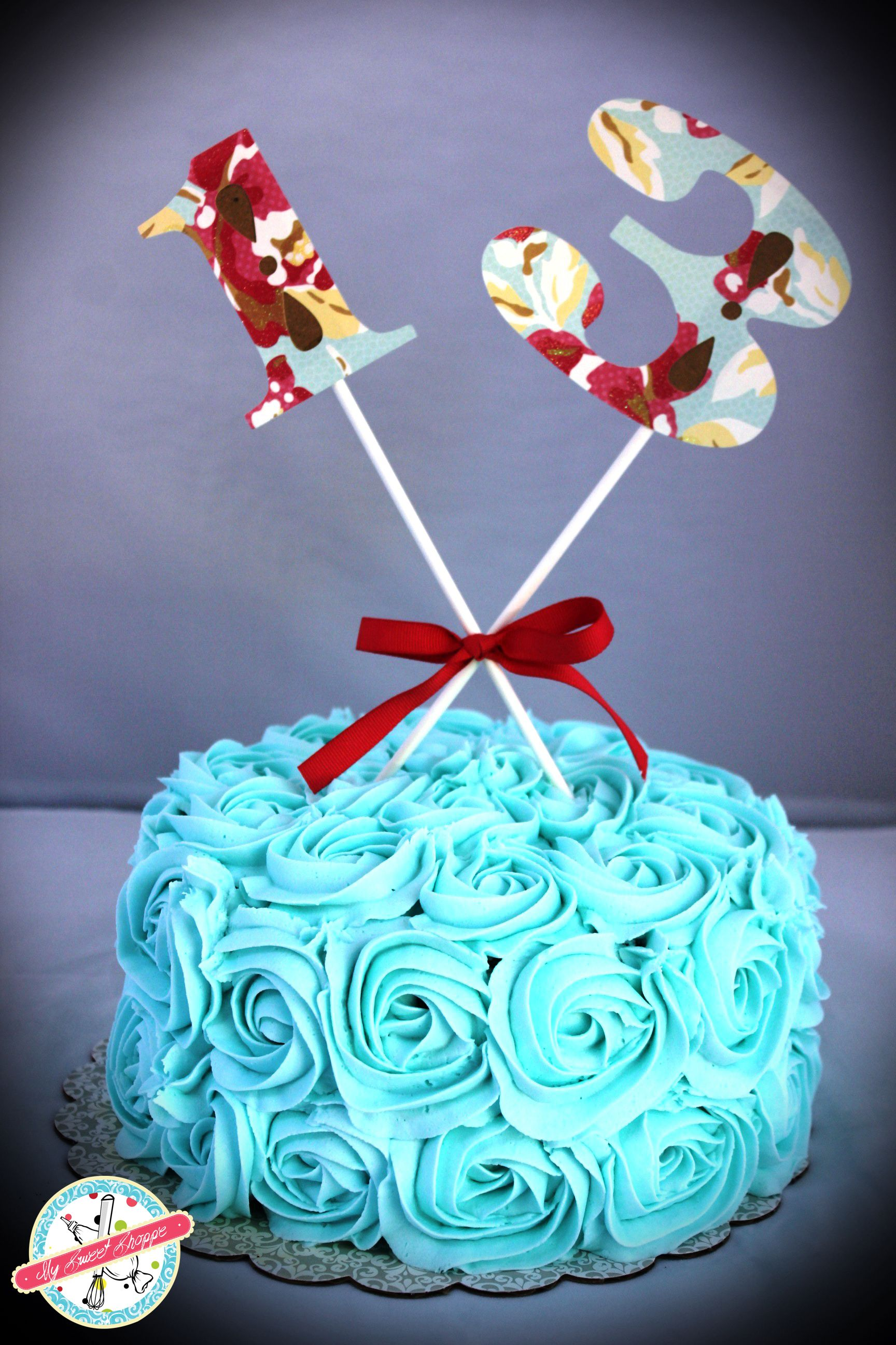 Teal Turquoise Rose Cake For 13 Year Old