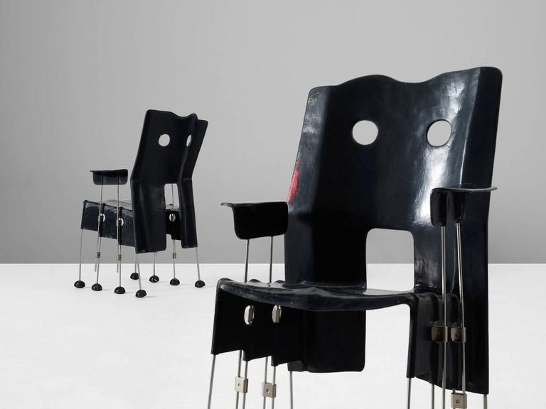 Gaetano pesce pair of first edition green street chairs
