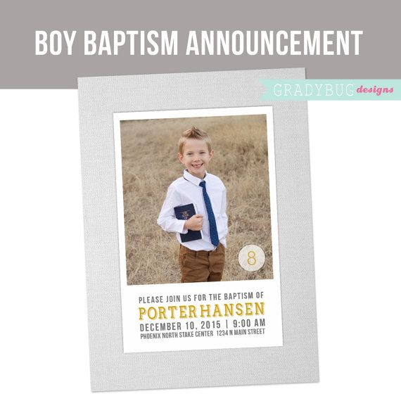 LDS Boys Baptism Announcement or Invitation - It\u0027s Great to be 8