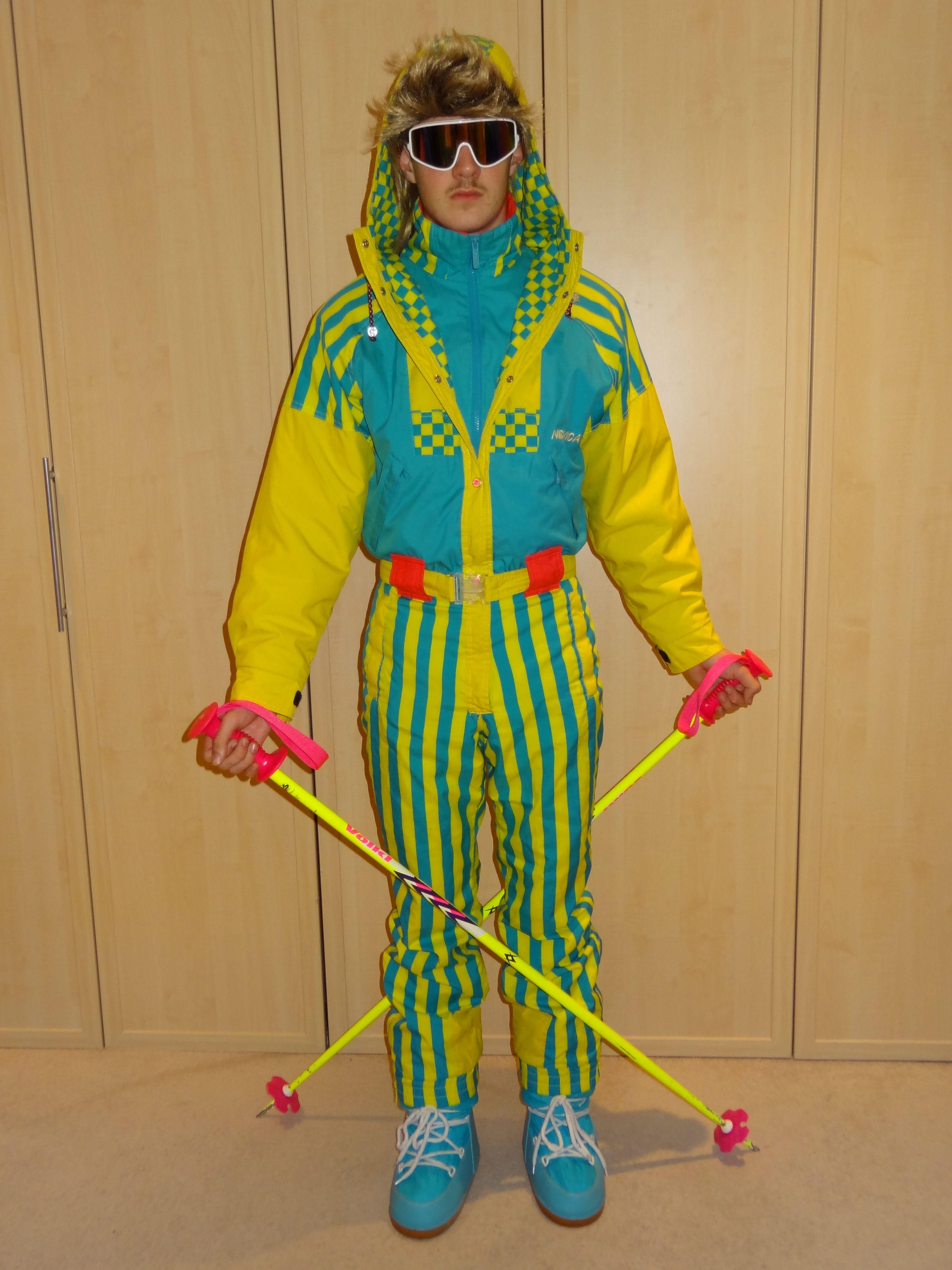 Retro Ski Man Nevica Zig Zag Fashion Costumes Skiing