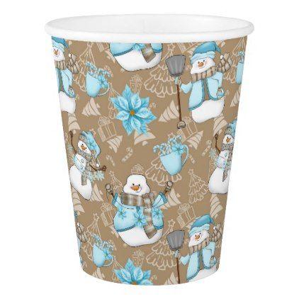 Christmas watercolor snowman Holiday party cup - holidays diy custom design cyo holiday family