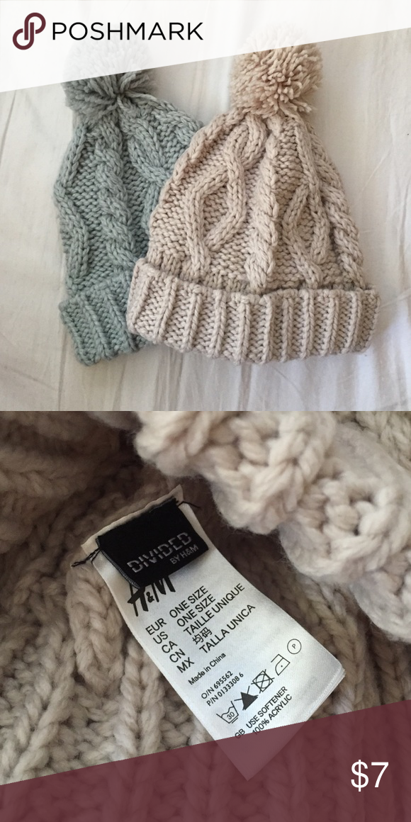 Pom Pom Beanies Wore the beige beanie twice. Blue one never worn. H&M Accessories Hats