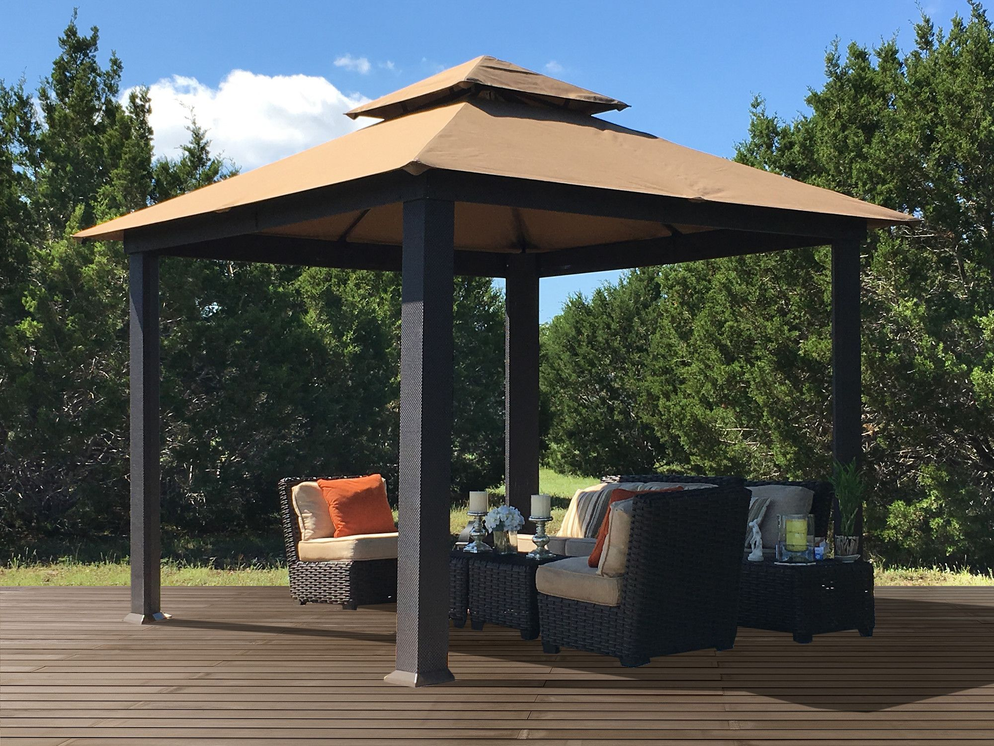 Savannah 10 Ft W X 10 Ft D Steel Patio Gazebo Patio Gazebo Backyard Gazebo Gazebo
