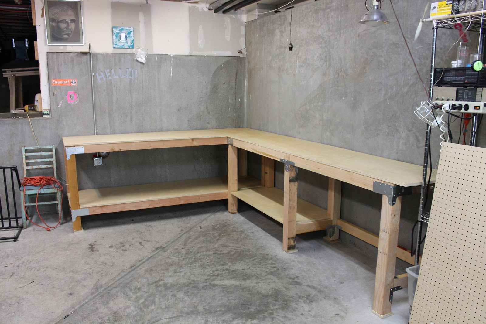 Custom Garage Workbench Finished Garage Workbench Plans Garage Work Bench Building A Workbench