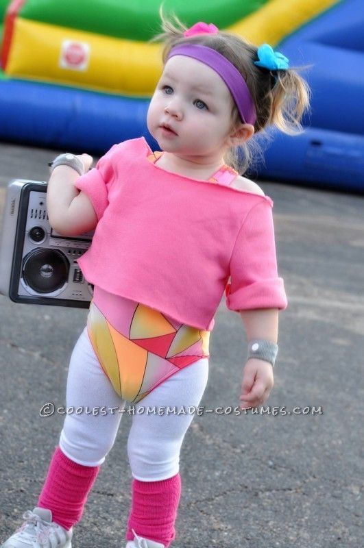 Cutest 80S Workout Girls Couple Costume For Toddlers -5989