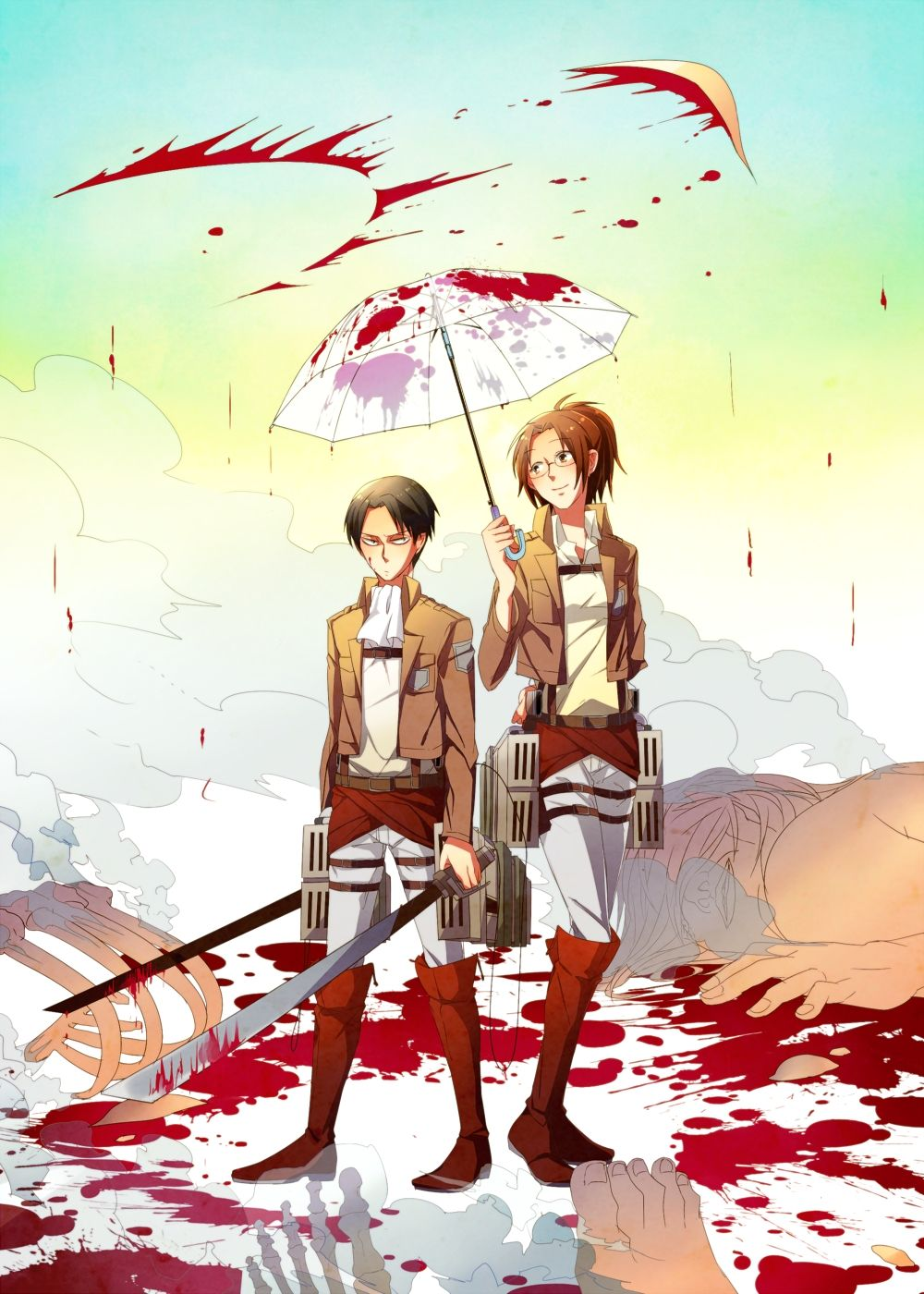 "Attack on Titan :: ""Does this help, clean freak?"" :: Hanji and Levi"