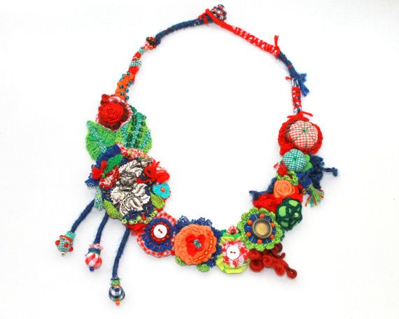 SOLD . Art necklace full of color and life. by GataValquiria, €40.00