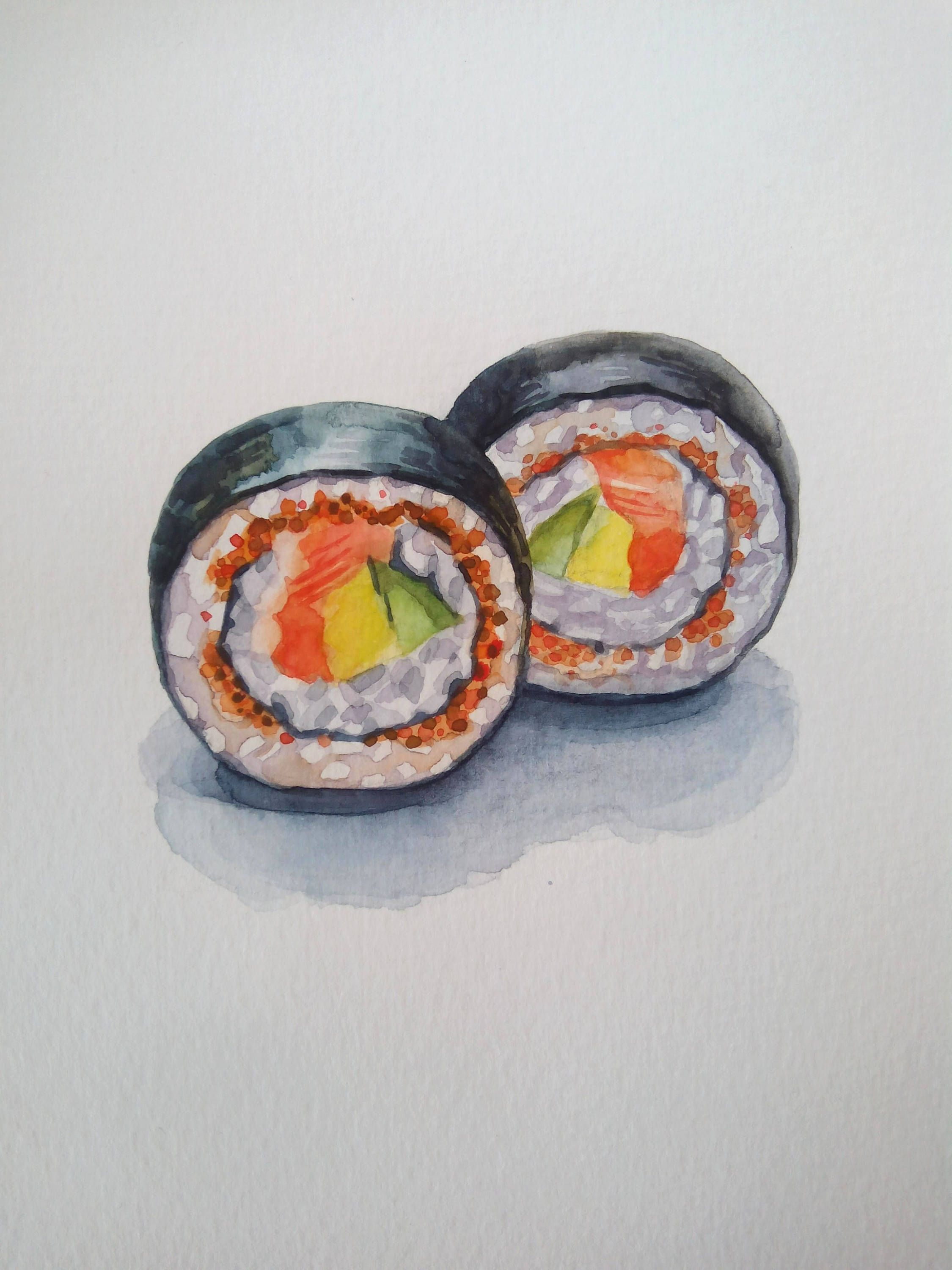 Sushi art / small painting / sushi roll / food