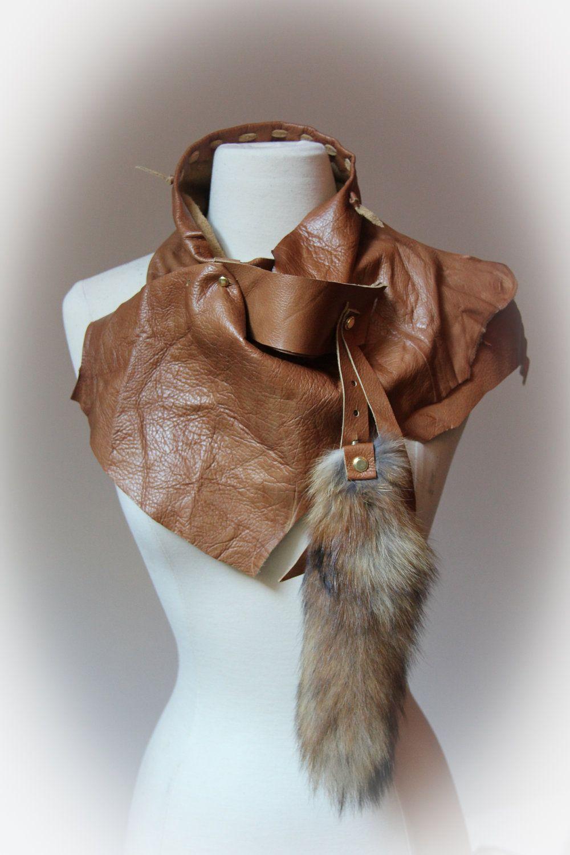 SOOOOOO in LOVE!!! Cognac leather scarf with fox tail >>> via Winisha ~ Etsy.