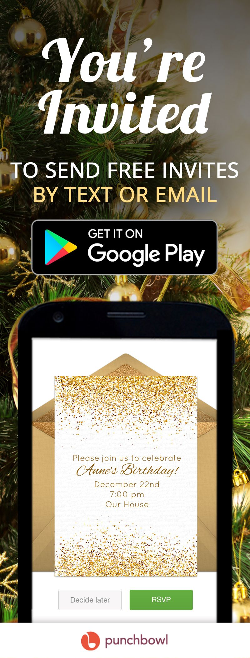 Send Free Christmas Birthday Invitations By Text Message Right From Your Phone And Get RSVPs Instantly