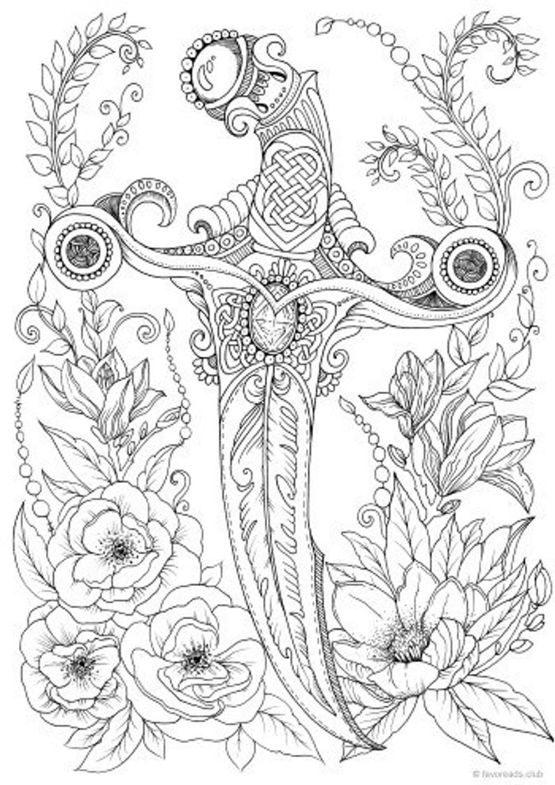 - Knife - Printable Adult Coloring Page From Favoreads (Coloring