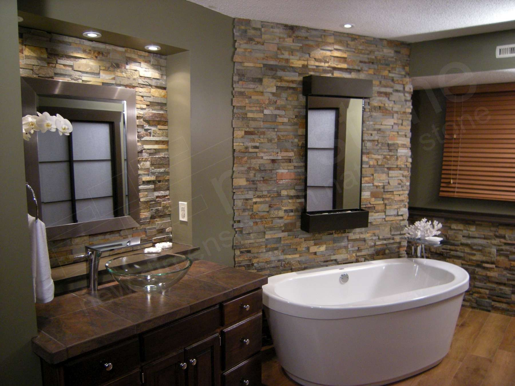 stone wall bathroom ideas Stone on the walls gives this bathroom