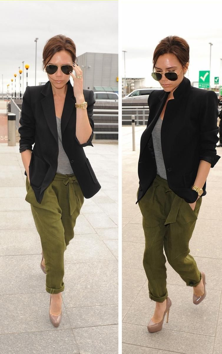 Wearing to work tomorrow...army green pants and black blazer