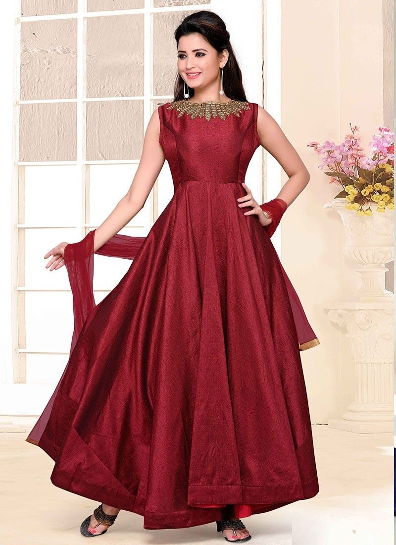 Shop online maroon raw silk longlengthsalwarsuit chennaistore