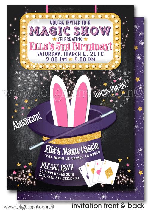 Printable Digital Magic Party Magician Birthday Invitation Di 636dp