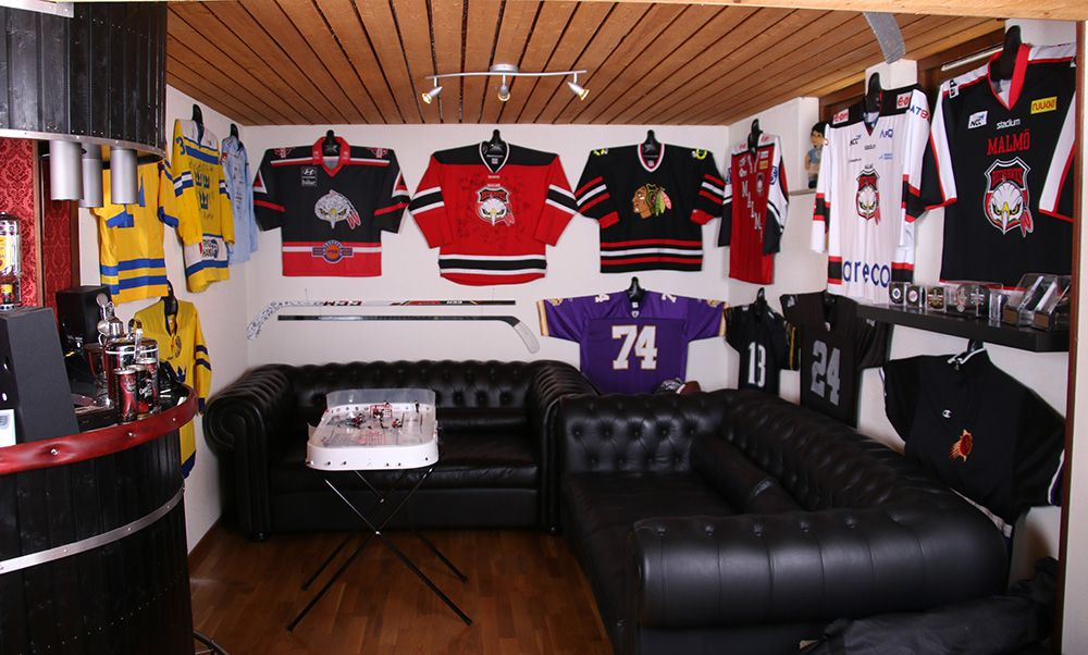 Great Way To Display Hockey Jerseys In Man Cave Using Shirtwhiz Man Cave Hockey Room Decor Man Cave Room