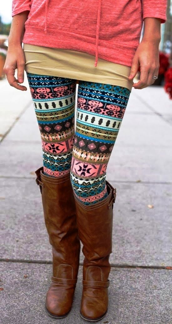 af3566dd4af004 Aztec style leggings, brown high boots, coral jumper. Street fall autumn women  fashion outfit clothing style apparel @roressclothes closet ideas