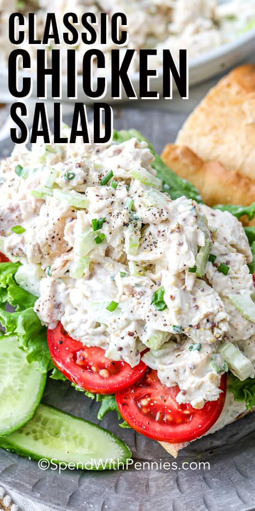 A Classic Chicken Salad Sandwich Is Made With Chicken Mayonnaise Celery And Green Oni Chicken Salad Recipe Easy Chicken Salad Recipes Chicken Dinner Recipes