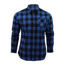 Mens Slim Casual Plaid Long Sleeve Shirt Top Blouse Black,Medium