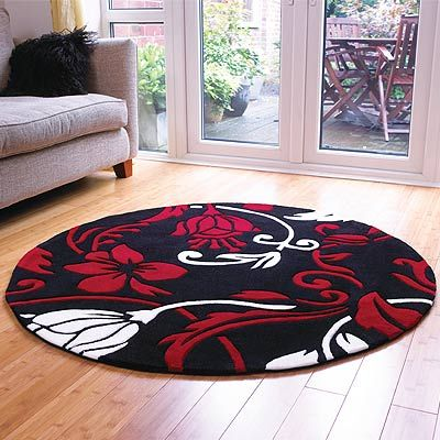 Round Red Black White Damask Rug Apartment Living Space