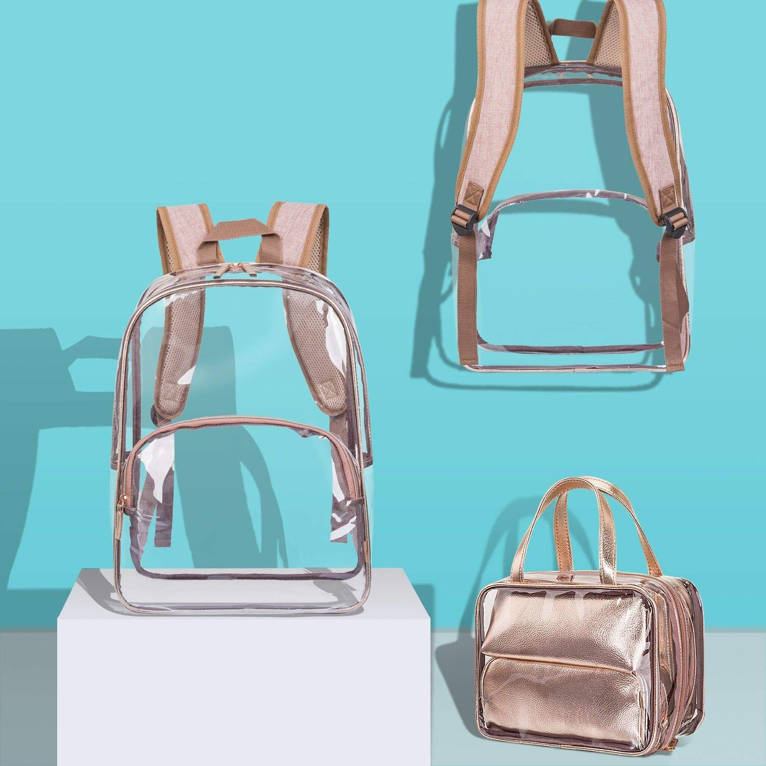 9f508af3f8c6 Amazon.com   NiceEbag 6 in 1 Clear Backpack with Cosmetic Bag   Case ...