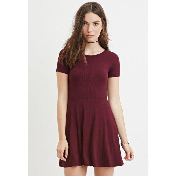 Forever 21 Women's Micro Ribbed Skater Dress ($13) ❤ liked