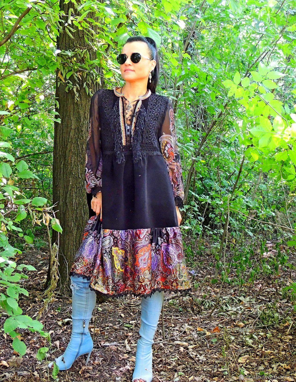 f314373347e07 Платья ручной работы. Ярмарка Мастеров - ручная работа. Купить Бохо платье.  Платье миди. Платье черное (534). Handmade.