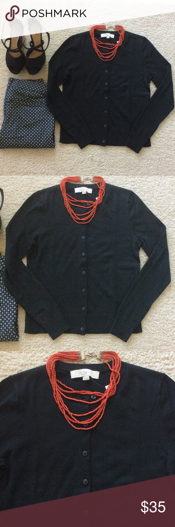 LOFT Basic Black Cardigan Sweater LOFT Basic Black Cardigan ...