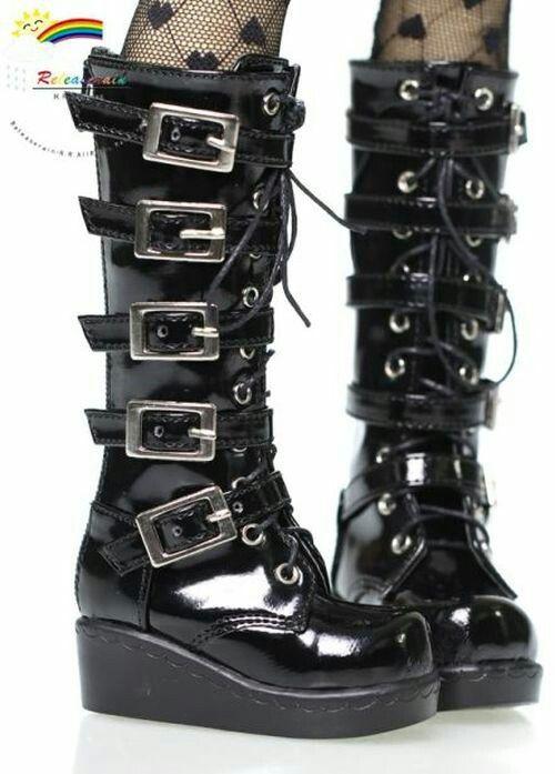 ccf64c5ce69 Gothic Punk Steampunk Buckle Strap Knee hi Sneaker Boot in 2019 ...